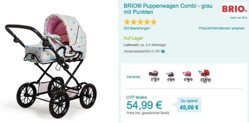 BRIO® Puppenwagen Combi - grau mit Punkten - jetzt 7% billiger