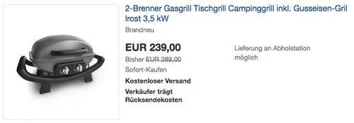 Burnhard tragbarer 2-Brenner 3,5 kW Gasgrill Wayne inkl. Gusseisen-Grillrost - jetzt 11% billiger
