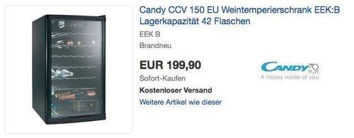 Candy CCV 150 EU Weintemperierschrank für42 Flaschen - jetzt 16% billiger