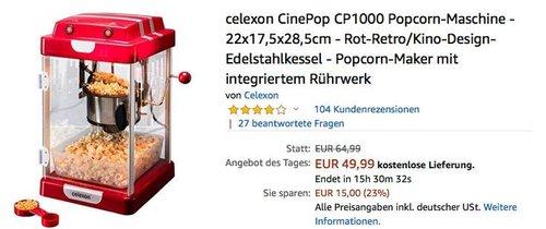 celexon CinePop CP1000 Popcorn-Maschine in Rot-Retro/Kino-Design - jetzt 20% billiger