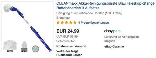 CLEANmaxx Akku-Reinigungsbürste mit 3 Aufsätzen - jetzt 16% billiger