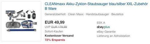 CLEANmaxx Akku-Zyklon-Staubsauger 14,8V B-Ware in Blau/Silber mit XXL-Zubehör - jetzt 29% billiger