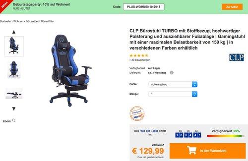 CLP Bürostuhl TURBO mit Stoffbezug in verschiedenen Farben - jetzt 19% billiger