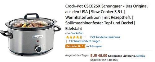 Crock-Pot CSC025X 3,5 L Schongarer - jetzt 28% billiger