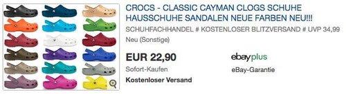 crocs Classic Cayman Unisex-Erwachsene Clogs - jetzt 13% billiger