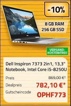 "Dell Inspiron 7373 2in1 Notebook (13,3"") 33,8 cm Intel Core i5-8250U, 8GB RAM, 256GB SSD, Full HD Touch, Win10 Home - jetzt 10% billiger"