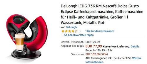 De'Longhi EDG 736 Nescafé Dolce Gusto Eclipse Kaffeekapselmaschine in verscheidenden Farben - jetzt 21% billiger
