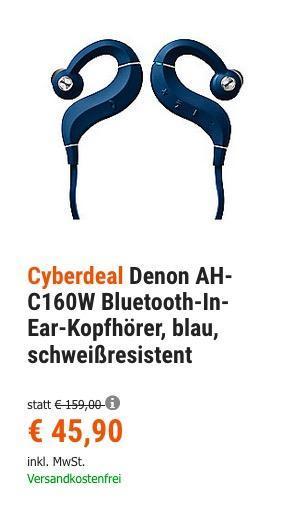 Denon AH-C160W Bluetooth-In-Ear-Sportkopfhörer in Blau - jetzt 29% billiger