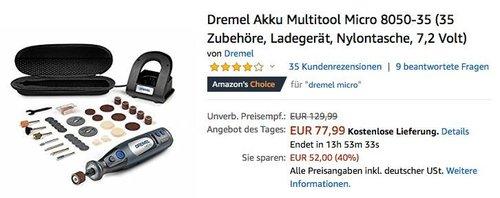 Dremel Akku Multitool Micro 8050-35 ( 35 Zubehöre, Ladegerät, Nylontasche) - jetzt 26% billiger