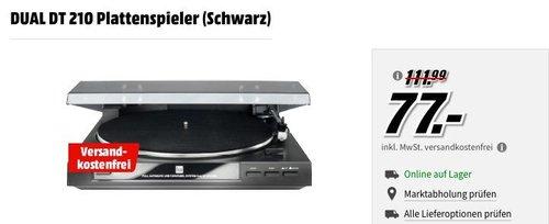 DUAL DT 210 Plattenspieler (USB-Anschluss, 33/45 U/min) in Schwarz - jetzt 29% billiger