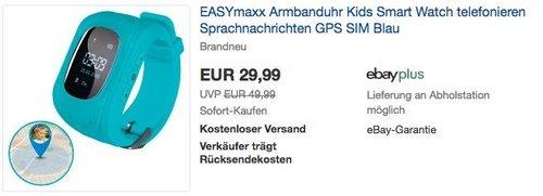 EASYmaxx Armbanduhr Kids Smart Watch in Hellblau - jetzt 14% billiger