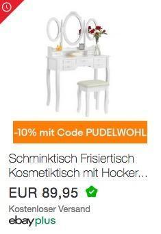 """Ebay - 10% Rabatt auf Wohnen, Heimwerken, Garten & Co: z.B. ArtLife  Schminktisch """"Elsa"""" weiß mit Spiegel und Hocker - jetzt 10% billiger"""