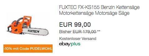 Ebay - 10% Rabatt auf Wohnen, Heimwerken, Garten & Co: z.B. FUXTEC FX-KS155 Benzin Kettensäge - jetzt 10% billiger