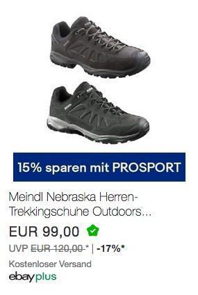 eBay 15% Gutschein auf ausgewählte Sport-& Outdoorartikel: z.B. Meindl Nebraska Herren-Trekkingschuhe Wanderschuhe - jetzt 15% billiger