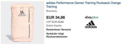 eBay adidas - Aktion: z.B.  adidas Performance Damen Trainingsrucksack in Orange - jetzt 18% billiger