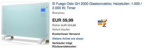 El Fuego Oslo GH 2000 Glaskonvektor, Heizstufen: 1.000 / 2.000 W - jetzt 23% billiger