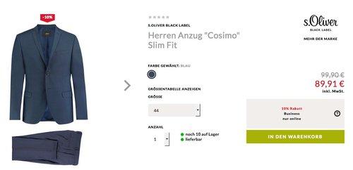 """Engelhorn - 10% Extra-Rabatt auf Businessmode: z.B. s.Oliver Black Label Herren Anzug """"Cosimo"""" Slim Fit - jetzt 10% billiger"""