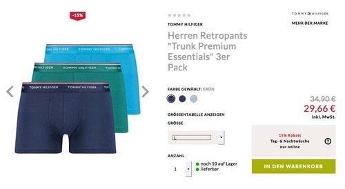 """Engelhorn - 15% Extra-Rabatt auf ausgewählteTag- & Nachtwäsche: z.B. Herren Retropants """"Trunk Premium Essentials"""" 3er Pack - jetzt 13% billiger"""