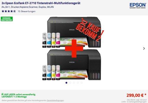 2x Epson EcoTank ET-2710 Tintenstrahl-Multifunktionsgerät - jetzt 40% billiger
