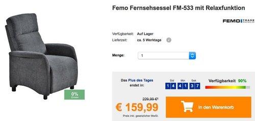 Femo Fernsehsessel FM-533 mit Relaxfunktion - jetzt 20% billiger