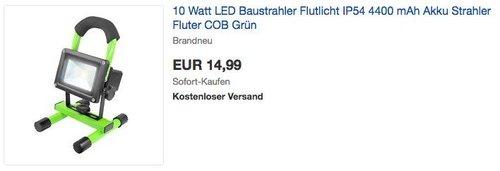 Filmer 10 Watt LED  Akku-Baustrahler - jetzt 35% billiger