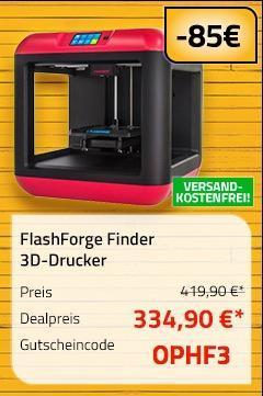 FlashForge Finder 3D-Drucker inkl. einem gratis Avistron Filament PLA 500g nach Registrierung - jetzt 12% billiger