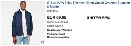 G-Star RAW Strett Coach Overshirt in Sartho Blue - jetzt 18% billiger