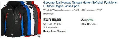 Geographical Norway Tangata Herren Outdoor Softshelljacke - jetzt 14% billiger