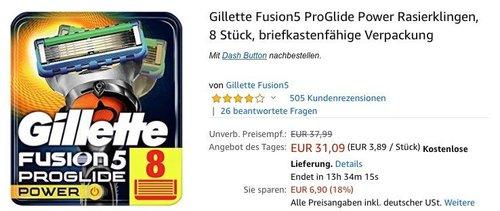 Gillette Fusion5 ProGlide Power Rasierklingen, 8 Stück - jetzt 13% billiger