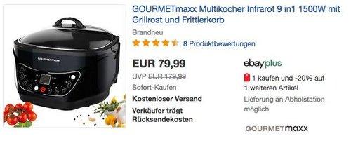 GOURMETmaxx  Infrarot Multikocher 9 in1 - jetzt 27% billiger