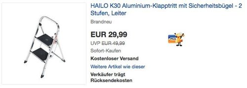 HAILO K30 Aluminium-Klapptritt mit 2 Stufen - jetzt 15% billiger