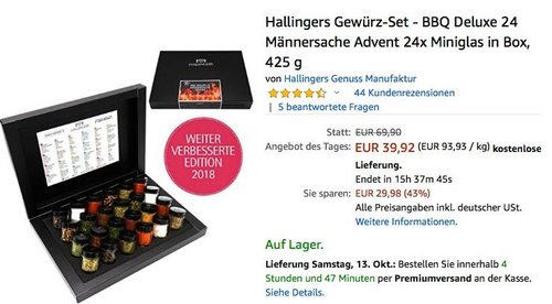 Hallingers Gewürz-Set - BBQ Deluxe 24 Männersache Advent 24x Miniglas in Box - jetzt 20% billiger