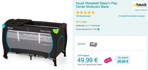 hauck Reisebett Sleep'n Play Center Multicolor Black - jetzt 29% billiger