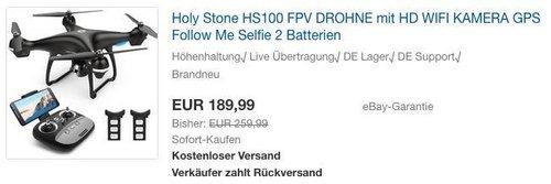 Holy Stone HS100 FPV DROHNE mit HD WIFI Kamera - jetzt 22% billiger