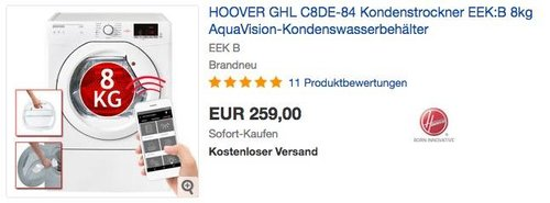 HOOVER GHL C8DE-84 Kondenstrockner, EEK: B, 8kg, NFC+WIFI-Technologie - jetzt 11% billiger