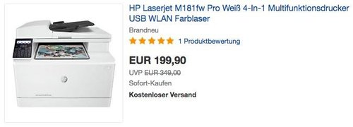 HP Laserjet M181fw Pro 4-In-1 Multifunktionsdrucker Farblaser - jetzt 26% billiger