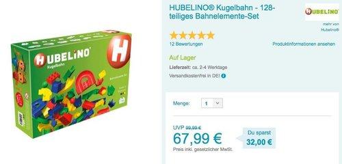 HUBELINO® Kugelbahn - 128-teiliges Bahnelemente-Set - jetzt 7% billiger
