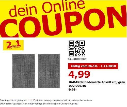 IKEA Berlin-Spandau - BADAREN Badematte 2er Set - jetzt 50% billiger