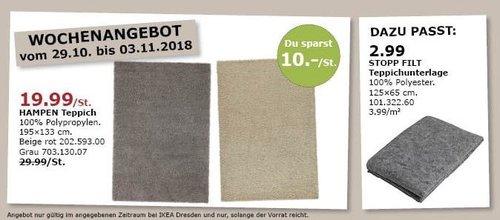 IKEA Dresden - HAMPEN Teppich, 195x133 cm für 19,99€ (-33%)