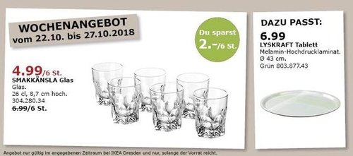 IKEA Dresden - SMAKKÄNSLA Glas, 6 St. - jetzt 29% billiger