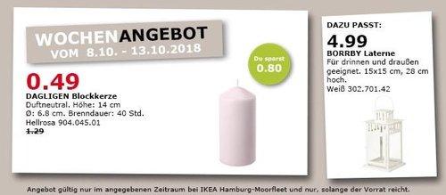 IKEA Hamburg-Moorfleet - DAGLIGEN Blockkerze - jetzt 62% billiger