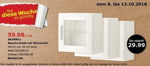 IKEA Köln-Godorf - BRIMNES Wandschrank mit Vitrinentür/3 St. - jetzt 33% billiger