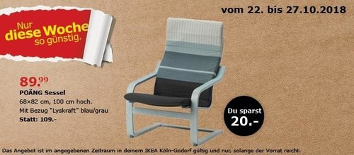 Ikea Koln Godorf Poang Sessel Blau Gr Fur 89 99 18