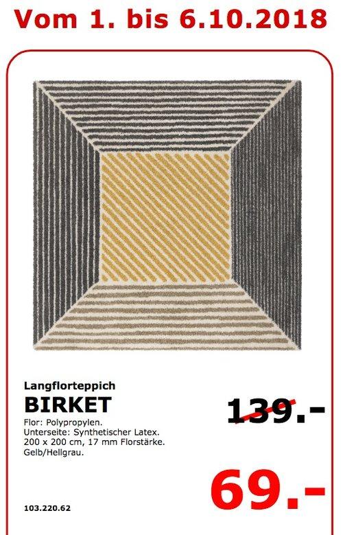 IKEA Koblenz - BIRKET Langflorteppich 200x200 cm - jetzt 50% billiger