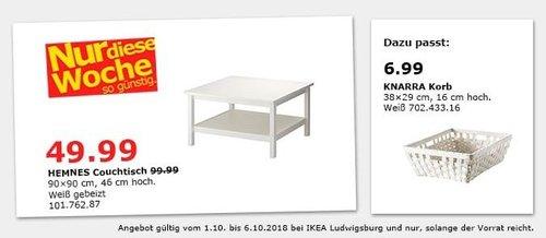 IKEA Ludwigsburg - HEMNES Couchtisch - jetzt 50% billiger