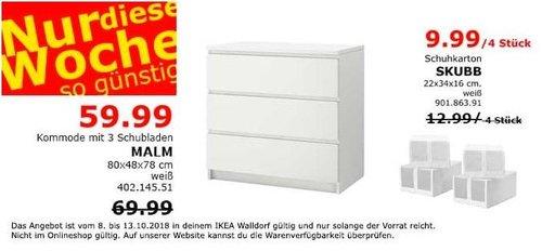 Ikea Walldorf Malm Kommode Mit 3 Schubla Fur 59 99 14