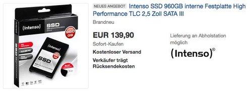 Intenso SSD 960GB interne Festplatte 2,5 Zoll SATA III - jetzt 9% billiger
