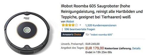 iRobot Roomba 605 Saugroboter in Weiß - jetzt 11% billiger