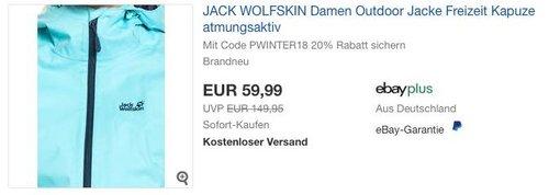 JACK WOLFSKIN Damen Outdoor Jacke in Eisblau oder Schwarz - jetzt 20% billiger