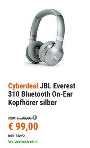 JBL Everest 310 Bluetooth On-Ear Kopfhörer in Silber - jetzt 34% billiger